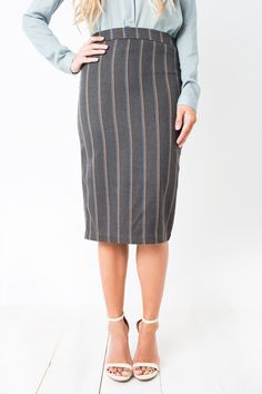 Maggie Pencil Skirt #chic #classic #classy #gray #maggie #midi #office #pencil #pinstripe #secretary #sexy #skirt #women #womens #work