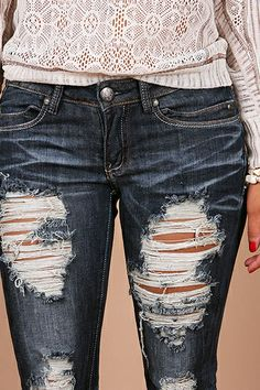 Dark Wash Destroyed Skinny. Ripped jeans | Style | Pinterest ...