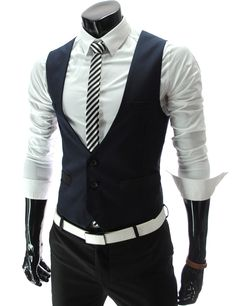 Mens Business Slim fit 3 Button Vest Waist Coat...My Dream man dresses like this...and wears this outfit with converse or adidas...YESSIR! *drool*