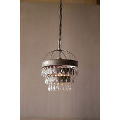 Pendant Lamp with Layered Shade and Hanging Glass Gems
