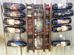Oak Pallet wine rack with 2 glass holder.