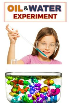 Oil & Water Experiment for Kids Oil And Water Experiment, Water Experiments For Kids, Candy Experiments, Fine Motor Activities For Kids, Preschool Activities, Preschool Science, Science For Kids, Summer Science, Science Fair Projects