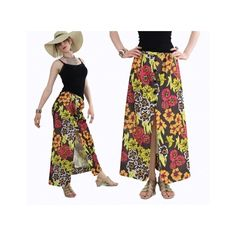 Vintage 60s Neon Floral Print boho Hippie Skirt with Buttons |... via Polyvore