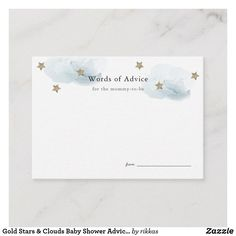 Shop Gold Stars & Clouds Baby Shower Advice Cards created by rikkas. Personalize it with photos & text or purchase as is! Arrow Baby Shower, Baby Shower Fun, White Baby Showers, Star Baby Showers, Baby Shower Advice, Shower Ideas, Baby Party, Pj Party, Fun Baby
