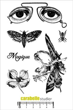 Carabelle Studio Stamp Set - Feerie SKU from Time To Create in Australia Don't you love the eyes on this new stamp set? Now look again as the other designs are also delightful. Album Vintage, Vintage Scrapbook, Tampon Scrapbooking, Paper Art, Paper Crafts, Vintage Newspaper, Tampons, Graphic 45, Printable Stickers
