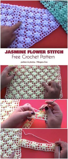 Jasmine Flower Stitch Free Crochet Pattern Are you eager to learn new stitches? This Jasmine Flower Stitch will be astonishing for baby stuff like a hat, jacket or blanket. Crochet Flower Patterns, Crochet Stitches Patterns, Knitting Stitches, Crochet Flowers, Crochet Designs, Stitch Patterns, Crochet Afgans, Crochet Shawl, Crochet Baby