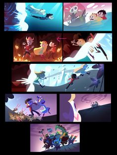 Here are some color keys and background I painted on Star! I helped Josh Parpan…