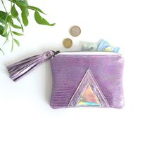 Pink Hologram Leather Pouch Metallic Leather by gmaloudesigns