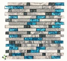 18.99$  Watch here - http://aliwkq.shopchina.info/go.php?t=32244741627 -  2017 HOT!Sea blue glass Mixed Grey Stone Mosaic,linear Bath shower/Fireplace/Kitchen wall tiles,Luxury Art wall sticker,LSSTG01 18.99$ #SHOPPING