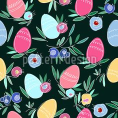 Easter Eve Seamless Pattern by Svetlana Piatigorskaia at patterndesigns.com Vector Pattern, Pattern Design, Coloring Easter Eggs, Abstract Pattern, Easter Bunny, Autumn Leaves, Your Design, Eve, Gift Wrapping