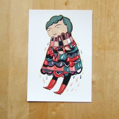 Only a small, floating girl  - Print of my Illustration. £16,00, via Etsy.