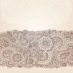 Henna Mehndi Doodles Abstract Floral Paisley Design Elements