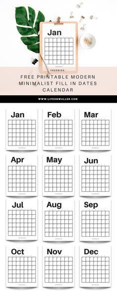 free printable modern minimalist calendar. I know you need a new calendar and what's better than this modern, minimalist classic? This is perfect for office decor, a binder, or just on your desk! Print this freebie today! I just love this cute calendar! f