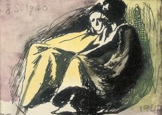 Graham Sutherland, O. Seated figures, ink and watercolour, x 9 cm John Minton, Coventry Cathedral, Pembrokeshire Coast, English Artists, Modern Artists, Source Of Inspiration, Art Forms, Printmaking, Surrealism