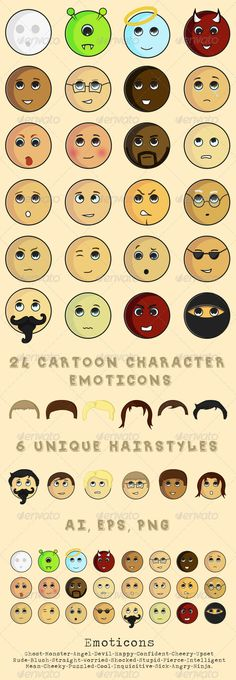 24 Cartoon Character Emoticons  #GraphicRiver         Twenty four vector round cartoon character emoticons which includes six unique vector hairstyles that can be mixed with any of the characters. Files provided in AI, EPS and PNG. Emotions include: ghost, monster, angel, devil, happy, confident, cheery, upset, rude, blushed, straight, worried, shocked, stupid, fierce, intelligent, mean, cheeky, puzzled, cool, inquisitive, sick, angry and ninja.     Created: 31October13…
