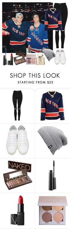 Watching the Ice Hockey Game with the Boys by anna-lamanilao on Polyvore featuring Topshop, Yves Saint Laurent, The North Face, Urban Decay, NARS Cosmetics, MAC Cosmetics, Gucci and Reebok
