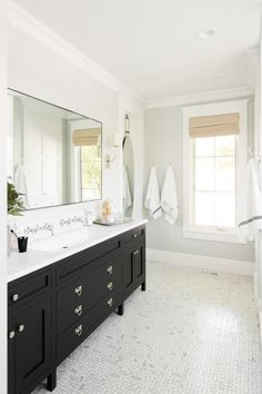 awesome Black vanity and marble mosaic floors at the Windsong Project    Studio McGee... by http://www.top50-home-decorationsideas.top/bathroom-designs/black-vanity-and-marble-mosaic-floors-at-the-windsong-project-studio-mcgee/