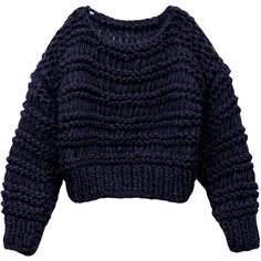 Von sono navy handmade knit short jumper ($359) ❤ liked on Polyvore featuring tops, sweaters, knit crop top, off shoulder sweater, navy blue sweater, oversized knit sweaters and off the shoulder crop top