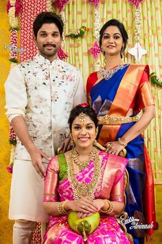 Actor Allu Arjun and Sneha Reddy attended the party of Chiranjeevi second daughter Srija Pelli kuturu ceremony. Sneha looked fabulous in h. Half Saree Designs, Pattu Saree Blouse Designs, Blouse Designs Silk, Kurta Designs, Blouse Patterns, Blue Silk Saree, Bridal Silk Saree, Indian Groom Wear, South Indian Bride