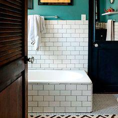 """Dirty aqua blue"" and subway tile"