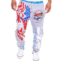 A+bărbaților+A+bărbaților+Pantaloni+Drăguți+Casual+/+Sport+Print+Poliester+–+GBP+£+11.19