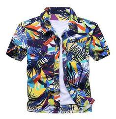 Flower Girl Regular-Fit Short-Sleeve Shirt,Personality Pattern,Coastal Seascape