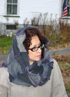 And this!!    Harry and the Hippie Chic Recycled Upcycled Patchwork Sweater Double Loop Scarf Neck Warmer Cowl Hood. $40.00, via Etsy.