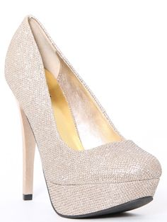 Champagne Glitter Platform Pumps  Be the first to review this product $29.99 Style # 51709  Availability: In stock  Quick Overview: Stylish high platform glitter pumps. Padded insole. Textured outsole.  Imported.