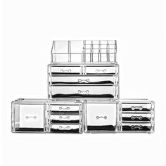 Amazon.com: Felicite Home Acrylic Jewelry and Cosmetic Storage Makeup Organizer Set, 4 Piece: Home & Kitchen