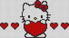 "Hello Kitty perler bead pattern [ ""Hello Kitty perler bead pattern and like OMG! get some yourself some pawtastic adorable cat apparel!"", ""Alpha Friendship Bracelet Pattern added by hayalci. Bead Loom Patterns, Perler Patterns, Beading Patterns, Embroidery Patterns, Bracelet Patterns, Loom Bands, Knitting Charts, Knitting Patterns, Cross Stitch Designs"