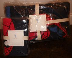 2P NIP Pottery Barn Kids SPIDER-MAN Spiderman Quilt STANDARD Sham Set TWIN #PotteryBarnKids
