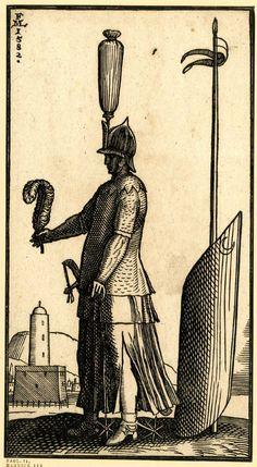 Melchior Lorck'un ağaç baskılarındaki Osmanlı figürleri ve ellerindeki dış bükey kanat şekilli kalkanlar..1570-83