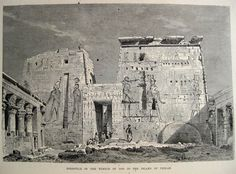 Egypt - Colonnade of the Temple of Isis on Philae Island. Engraving by Schifeld after original drawing by C Werner. From El Mundo Ilustrado, published in Barcelona, circa late nineteenth century. Ancient Egypt, Ancient History, Old Pictures, Old Photos, Ancient Architecture, Historical Sites, Archaeology, Egyptian, Retro