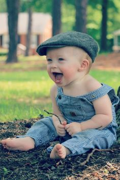 one year old baby laughter in soft cotton cordorouy overalls with snap crotch (image via Dear Baby) Precious Children, Beautiful Children, Beautiful Babies, Baby Kind, Baby Love, Little People, Little Boys, Baby Pictures, Cute Pictures