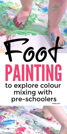 Feet painting is a wonderful color mixing activity for preschool kids. It's a lovely messy sensory, gross motor and outdoor activity that allows toddlers, preschool and kindergarten children to develop early mark making and colour mixing skills and knowledge whilst balancing their bodies and crossing their midline. #kidspainting #toddlerplay #preschoolart #preschoolactivities #preschoolpainting #colormixing #colormixingactivities Gross Motor Activities, Outdoor Activities For Kids, Color Activities, Creative Activities, Sensory Activities, Infant Activities, Preschool Activities, Sensory Play, Summer Activities
