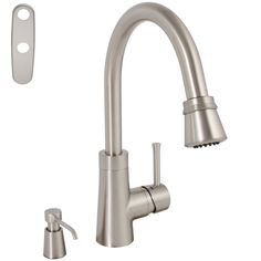 Make your kitchen more user-friendly with this convenient pull-down faucet. Constructed of solid brass for durability, this contemporary goose-neck faucet features a lever-shaped handle and is finished in brushed nickel.