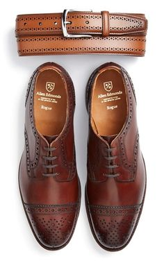 Allen Edmonds Brogue Leather Belt & Cap Toe Derby (Men) Brogue detailing defines a handsome leather belt with a polished buckle. Richly burnished leather shapes a clean-cut derby stamped with classic brogue details. #picsandpalettes #AllenEdmonds #Nordstrom