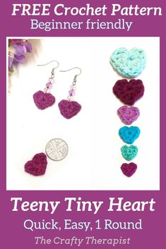 FREE pattern for a cute dinky wee heart that's perfect for jewellery or popping on cards. Made in yarn so no fiddly thread and tiny hooks. Make different sizes just by changing hook and yarn. Crochet Motif Patterns, Crochet Patterns For Beginners, Heart Patterns, Crochet Appliques, Crochet Ideas, Quick Crochet, Cute Crochet, Tiny Heart, Paintbox Yarn