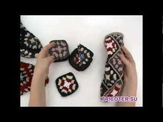Носки крючком из квадратов - YouTube