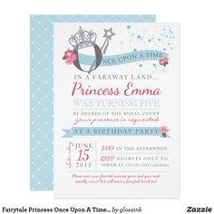 Shop Fairytale Princess Once Upon A Time Kids Birthday Invitation created by glossink. Baby Shower Niño, Baby Shower Princess, Invitaciones Baby Shower Niña, Princess Birthday Invitations, Fairytale Party, Time Kids, Zazzle Invitations, Girl Birthday, Fairy Tales