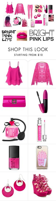 """""""Bright Pink Lips"""" by candymaddielove ❤ liked on Polyvore featuring Doublju, Manolo Blahnik, Revlon, Victoria's Secret, Christian Dior, NARS Cosmetics, Casetify, Mixit, J.Crew and Maybelline"""