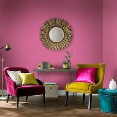 dulux paint colours for living room - Google Search Room, Living Room Paint, Durable Paint, Green Wallpaper, Living Room Grey, Orange Paint, Pink Paint, Modern Colors, Furnishings