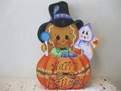 HP Gingerbread Halloween Witch Happy Halloween SHELF SITTER hand painted USA