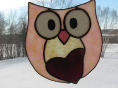 Owl Always Love You  Pink  Suncatcher by StainedGlassByBev on Etsy