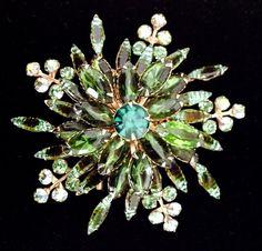 Spectacular Green Rhinestone brooch Juliana by WhirleyShirley, $48.00