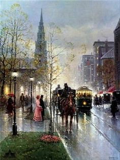 Harvey Art--Park Street Church - Boston by G. Harvey, a G. Harvey limited edition available from J Watson Fine Art 661 your source for G. G Harvey, Great Paintings, Western Art, Illustrations, American Art, Painting & Drawing, Amazing Art, Art Photography, Paris