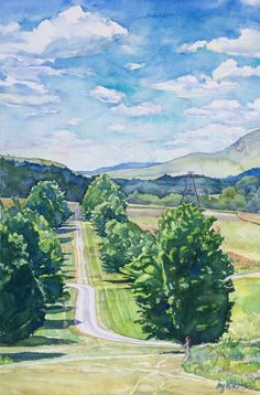 Maple Allee at Storm King. Watercolor on Arches paper.