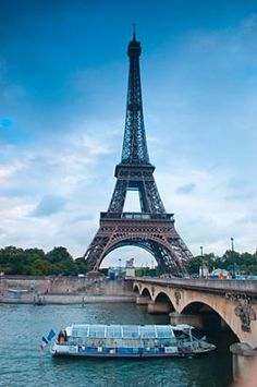 Paris, France The Batobus boat taxi, takes a loop around Paris via the river. #Paris #EiffelTower