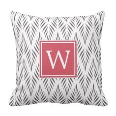 #monogrammed - #Modern Stylish Gray White Leaves Pattern Monogram Throw Pillow
