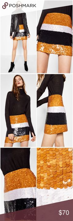 NWT ZARA Tri-Color Sequin Mini Skirt ♡ ZARA Tri-Color Mustard Yellow Gold, Pearl White, & Black Sequins embellish this luxurious mini skirt. Concealed Zipper on the side. You are sure to wow in this skirt with a cute crop, bodysuit, or flowy top! Never been worn as it still has the original tags on the item. One of a Kind item! Love the Beautiful Sequins all throughout the mini skirt! Has some missing sequins but was bought in the store that way, not noticeable at all even when worn.   ♡…